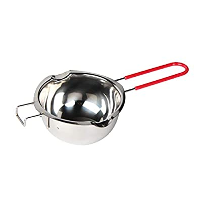 BESTONZON Steel Chocolate Melting Pot Double Boiler Milk Bowl Butter Candy Warmer Pastry Baking Tool with Red Handle (No Lid)