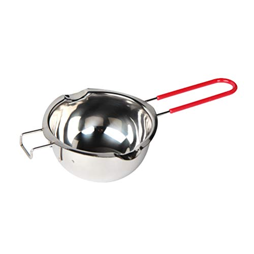 Front Mold Candy (BESTONZON Steel Chocolate Melting Pot Double Boiler Milk Bowl Butter Candy Warmer Pastry Baking Tool with Red Handle (No Lid))