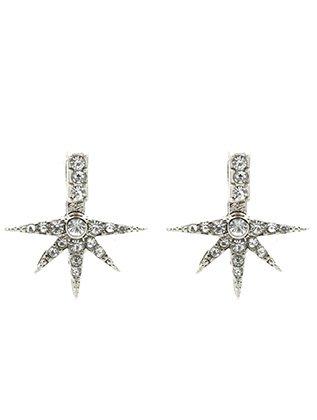 Destinees silver clear DOUBLE SIDED STARBURST EAR JACKET EARRING