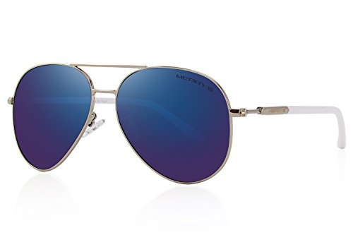 MERRY'S Men's Polarized Driving Sunglasses For Men Women Mirror Sun glasses UV400 S8058 (Dark Blue, 62)
