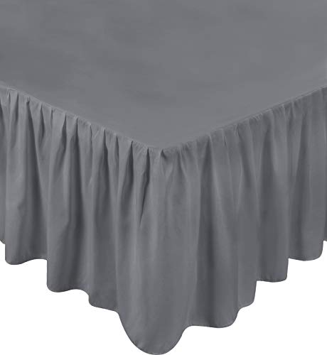 Utopia Bedding Bed Ruffle Skirt - Brushed Microfiber Bed Wrap with Platform - Easy Fit - Gathered Style - 3 Sided Coverage (Twin - Grey)