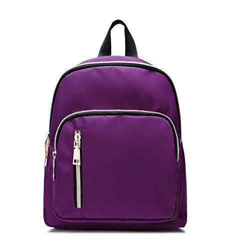 (Yanaier Women Small Backpack Simple Design waterproof Nylon Casual Fashion Daypack Multi Zipper Anti-theft Pocket lightweight College Mini Backpack purple)