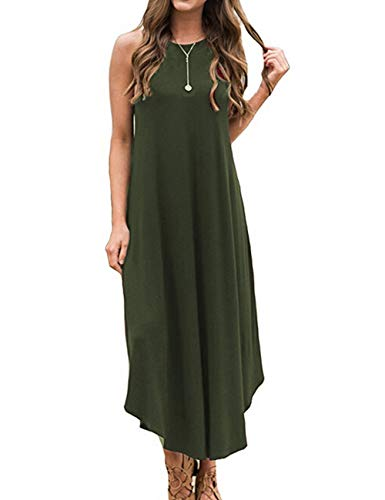 Halife Women's Summer Casual Loose Dress Beach Cover Up Long Cami Maxi Dresses Army Green S