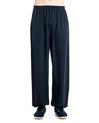 (ICNBUYS Men's Kung Fu Tai Chi Pants Cotton Silk M Black)