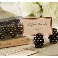 Pinecone Place Card Holders - Set of Twelve Kate Aspen Pine Cone Place Card Holders and 50 Embossed Place Cards From Top Drawer