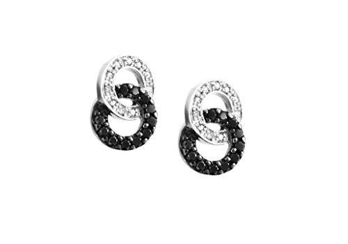 Créoles Or blanc 9carats Noir et Blanc Diamant Double-Boucles d'Oreilles Clous Femme -