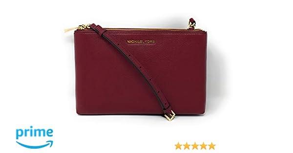 2dcf2c72aacf Michael Kors Jet Set Travel Double Zip Gusset Signature Crossbody Brown  Mulberry: Handbags: Amazon.com