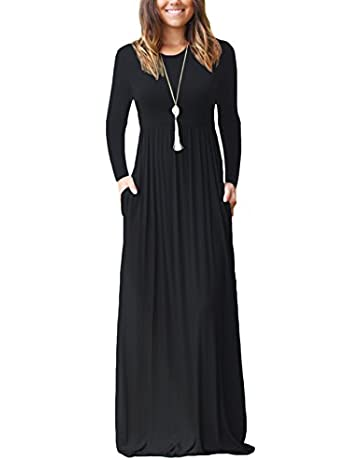 18fca06a DEARCASE Women Long Sleeve Loose Plain Maxi Pockets Dresses Casual Long  Dresses. pricefrom ...