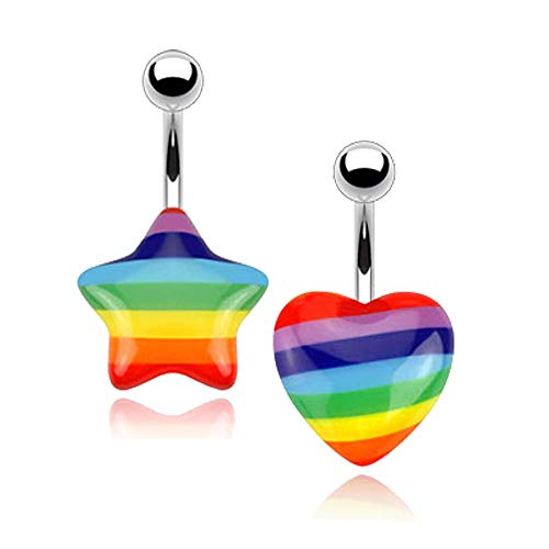MoBody 2Pcs Gay Pride Belly Button Ring Set 316L Surgical Steel Rainbow Heart and Star Curved Navel Barbell Piercing Jewelry (Gay Belly Button Rings)