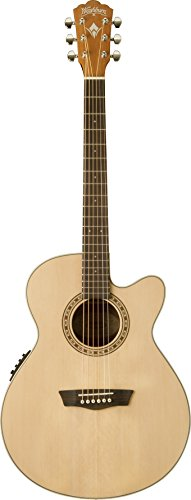 Washburn 6 String Acoustic-Electric Guitar, Natural Gloss (WG7SCE-O)