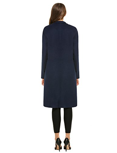 Femme Col Bleu Revers Marine avec Veste Poches Trench Manteau Zeagoo Longues Manches 51CI54wq