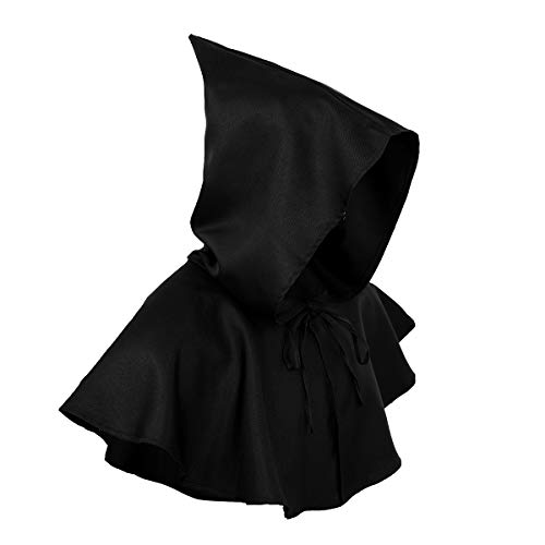 inlzdz Unisex Adult Vintage Medieval Cowl Hat Hooded Halloween Wicca Pagan Cosplay Accessory Black One -