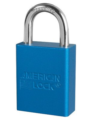American Lock Blue 1 1/2'' X 3/4'' Aluminum 5 Pin Safety Lockout Padlock With 1/4'' X 3/4'' X 1'' Shackle (6 Pack)