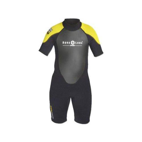 Aqua Lung Sport Kids 2mm Quantum Stretch Shorty Wetsuit XS (4-5) Black/yellow (Shorty Wetsuit Yellow)