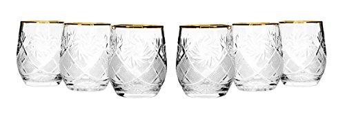 Set of 6 Neman Glassworks, 7-Oz Gold Rim Russian Crystal Beverage Glasses by Neman Glassworks
