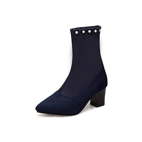 Alti Women's Donna Blue Warm Punta Da Boots Stivaletti Corta Tacco A Con EqwErH0