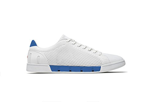 Breeze Mens Shoes - SWIMS Breeze Tennis Knit Sneakers in White/Blitz Blue, Size 11