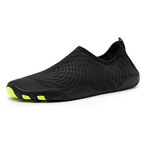 36-47 Size Men Beach Shoes Women Outdoor Swimming Shoes Adult Aqua Flat Soft Seaside Shoes Non-Slip Walking Couple Yoga Shoes,G10-Black,8 (Best Shoes For Step Aerobics 2019)