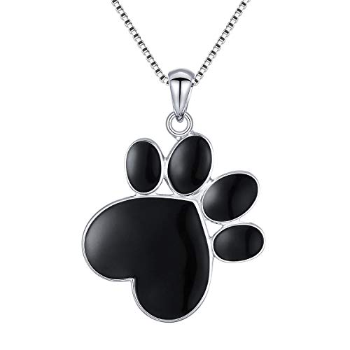 S925 Sterling Silver Puppy Dog Cat Pet Paw Print Love Heart Pendant Necklace 18