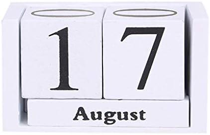 Kongnijiwa Vintage Desktop-Holzwürfelblock Kalender Kalender, Holzblock Arbeitszimmer Wohnzimmer Schlafzimmer Tischdekoration Foto Shooting Prop