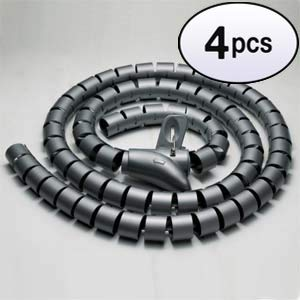 - GOWOS (4 Pack) Spiral Cable Zip Wrap Black 25mm x 1.5m (1