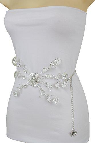 Fst Stone (TFJ Women Fashion Narrow Belt High Waist Hip Silver Metal Chains Bling Flowers XS S M)