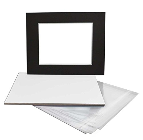 Golden State Art, Pack of 5 Black Pre-Cut 16x20 Picture Mat for 11x14 Photo with White Core Bevel Cut Mattes Sets. Includes 5 High Premier Acid Free Mats & 5 Backing Board & 5 Clear Bag Double Pre Cut Mat
