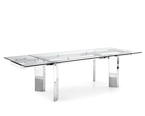"Exquisite ""Tower"" top glass extending dining table by Calligaris."