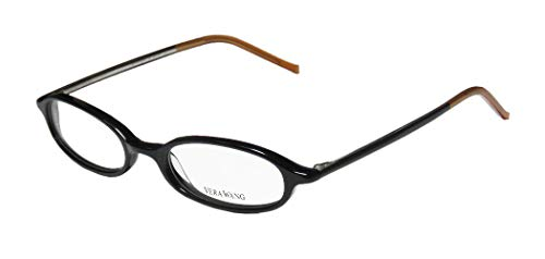 Vera Wang V134 Womens/Ladies Oval Full-rim Eyeglasses/Glasses (47-17-136, Black / Caramel)