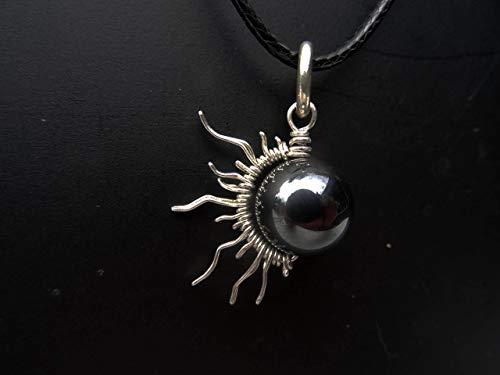 Sterling Silver 1/2 Sun Moon Eclipse Pendant W/Hematite Bead