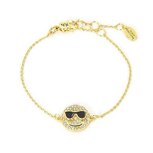 Juicy Couture Pave Bracelet - Juicy Couture Black Label Gold Pave Crystal Smiley Face Charm Bracelet WJW70973