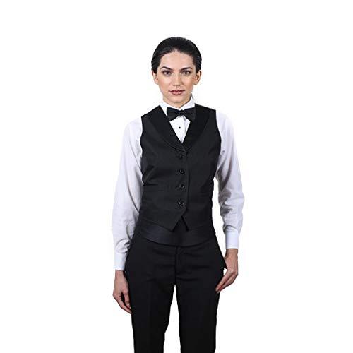 SixStarUniforms Women's Black Full Back Tuxedo Vest with Black Lapel Medium ()