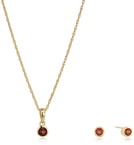 Set Jewelry Garnet 18k (Girls' Petite 18k Yellow Gold Plated Sterling Silver Garnet Stud Earrings and 16