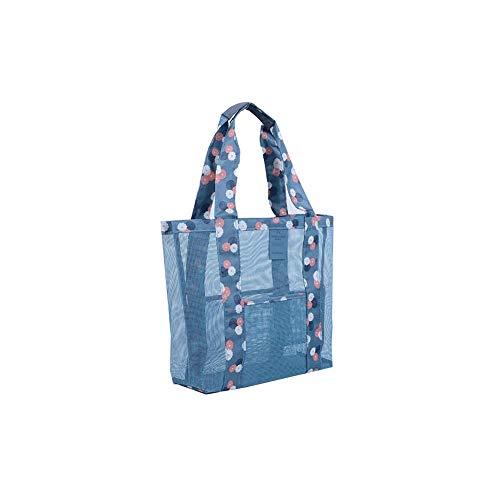 Women Clear Mesh Outdoor Handbag Transparent Beach Mesh Holder Sand Grid Zipper Tote Foldable Vegetable Shoulder Bag - Sky Blue