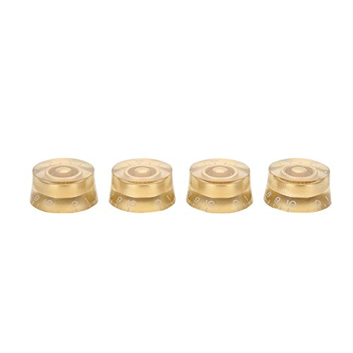 - 4pcs Electric Guitar Knobs, Guitar Tone Speed Volume Control Knobs Replacement Accessory for Les Paul LP Electric Guitar(Gold)