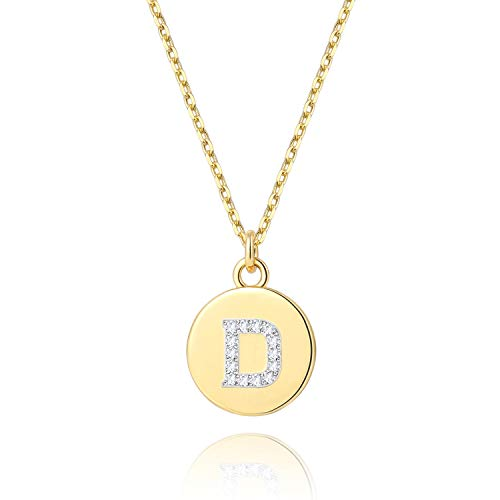 BOUTIQUELOVIN 14K Gold B Letter Pendant Necklace Dainty Mini Disc Initial Name Necklace for Girls Childs (Charm Letter D 14k)