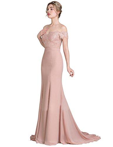 Frauen Erosebridal Spitze Dusty Meerjungfrau für Kleidern Brautjunfernkleider Partei Rosa Abendkleid a66FwW7qX