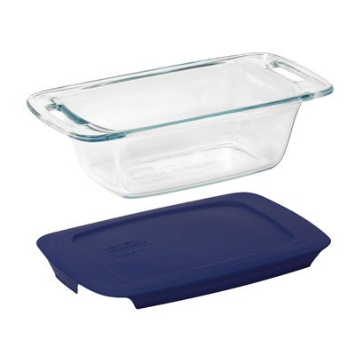 Easy Grab 1.5 Qt. Loaf Dish with Plastic (1.5 Quart Loaf Pan)