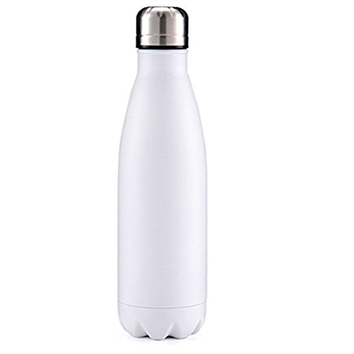 I EN FR Sport Water Bottle Vacuum Cup Travel Water Bottle Double Walled Stainless Steel Cup Cola Style 17 Oz (White)