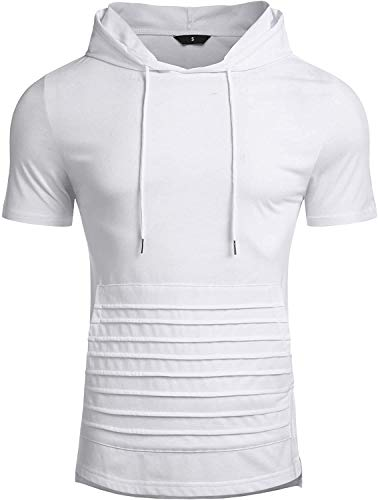 Oxnov Mens Workout Hoodie Casual T-Shirt Muscle Shirts for Men Bodybuilding Gym Pullover