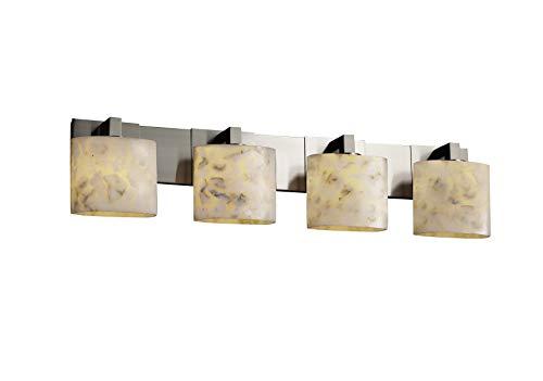 Justice Design Group Alabaster Rocks! 4-Light Bath Bar - Brushed Nickel Finish with Shaved Alabaster Rocks Cast Into Resin Shade ()
