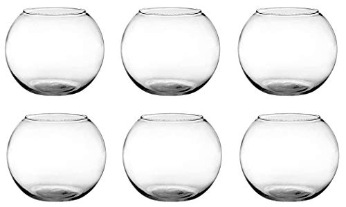 Floral Supply Online - 6 Rose Bowls (Set of 6) and Flower Guide Booklet - Glass Round Vases for Weddings, Events, Decorating, Arrangements, Flowers, Office, or Home Decor.