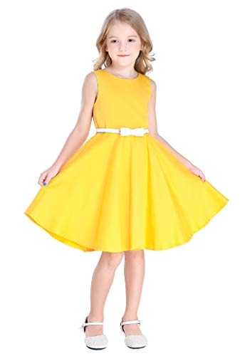 Bow Dream Little Girls Vintage Floral Swing Dresses Yellow