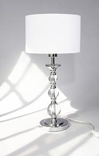 Design TISCHLEUCHTE PANDORA Weiß / Zeitloses Design / Eleganter Stoffschirm