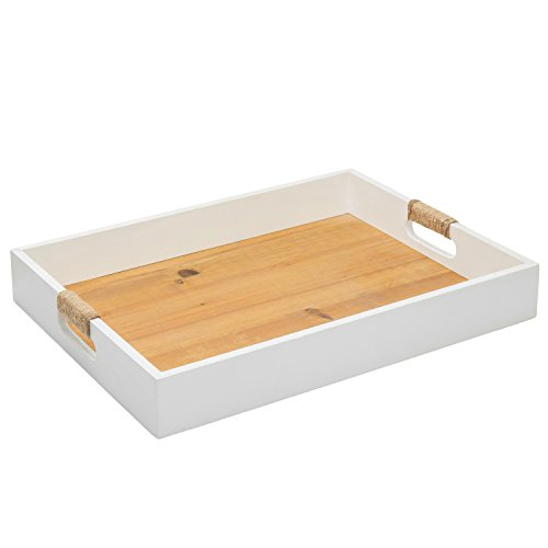 (MyGift Modern White & Natural Wood Serving Breakfast Tray with Cutout Handles)