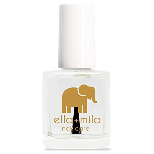 ella+mila Nail Care, Quick Dry Top Coat - In a Rush (high glossy shine, UV inhibitor which prevents yellowing) (Best Base Coat To Prevent Yellowing)
