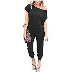 Women's Jumpsuits - Crewneck One Off Shoulder Short Sleeve Elastic Waist Romper Playsuits with Pockets Cxiejian-Black-M BYF-33