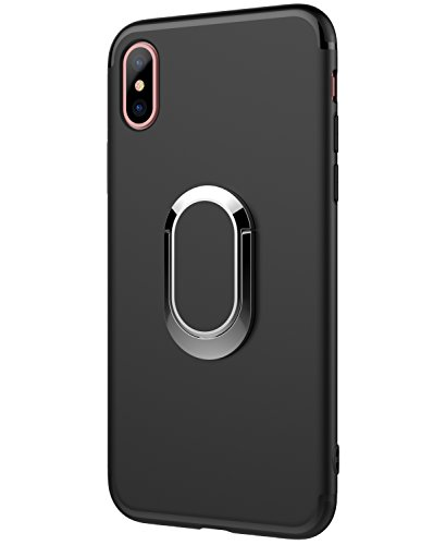 TZUS iPhone X Case 360 Ring Hold Kickstand Magnetic Car Mount,TPU Soft Rubber Silicone Slim Cover for Apple iPhone 10/X (2017) (Black) - Kickstand Cover