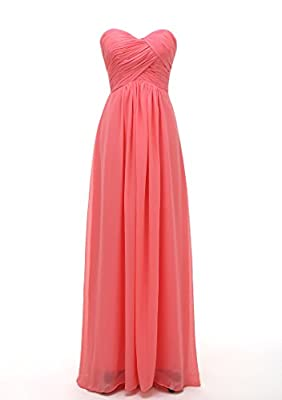 Women's Bridesmaid Dresses Long Sweetheart Prom Gowns Chiffon Strapless