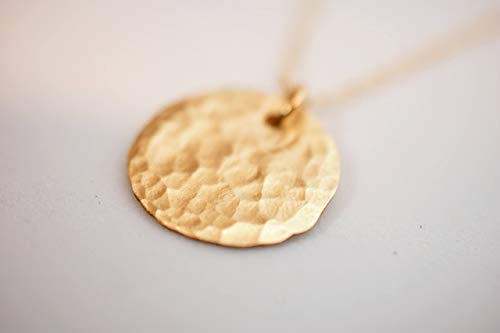 Gold Filled Layered Disc Pendant Necklace, Simple Delicate Everyday Minimalist Jewelry, Artisan Handmade Design, 19.6